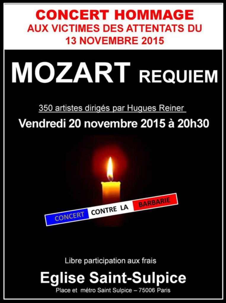 Concert Hugues reiner le 20 novembre 2015